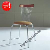 Распродажа. Стул С3285 металлический, сатин, мягкое сиденье, коричневый кожзам (экокожа), в кухню,  купить