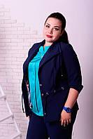 Женский жакет больших размеров Оксфорд синий