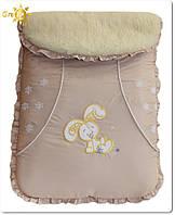 Зимний меховой конверт для новорожденных Зайчик