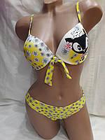 Купальник 2208 Кошечка желтый, идет на наши размеры 40,42.