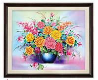 """Вышивка крестиком """"Букет цветов Свежесть"""" 3Д изображение"""