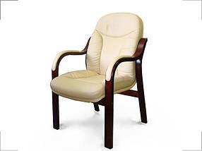 Кресло для конференций Гранд комбинированная кожа люкс Бежевая (Диал ТМ)