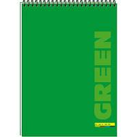 Блокнот A4 COLOR спір. 48 арк. карт. обкладинка  ВА4248-001 зелений