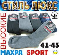 Высокие носки мужские махровые спорт х/б STYLE LUXE Стиль Люкс  Украина ассорти 41-45р. НМЗ-04171