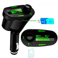 FM трансмиттер 618 New с зеленой подсветкой black