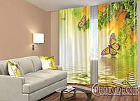 """ФотоШторы """"Бабочки над водой"""" 2,5м*2,6м (2 полотна по 1,30м), тесьма"""