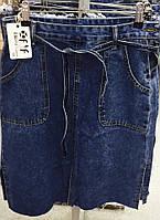 Красивая джинсовая юбка с пояскоми разрезами по бокам