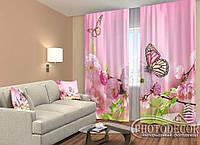 """ФотоШторы """"Бабочки на цветах"""" 2,5м*2,9м (2 полотна по 1,45м), тесьма"""