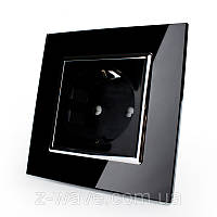 Розетка электрическая одинарная Livolo черная