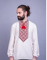 Вышитая мужская сорочка на лене с красной вышивкой