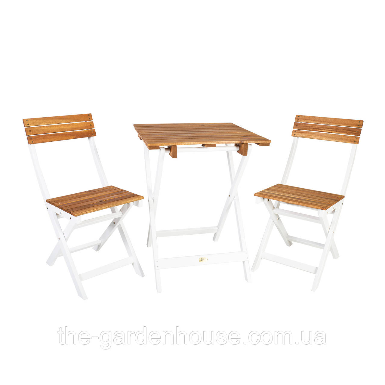 Двухместный набор садовой мебели из дерева акации складной