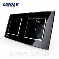 Розетка электрическая двойная Livolo черная