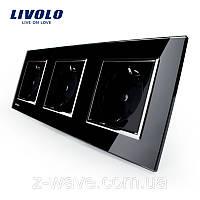 Розетка электрическая тройная Livolo черная