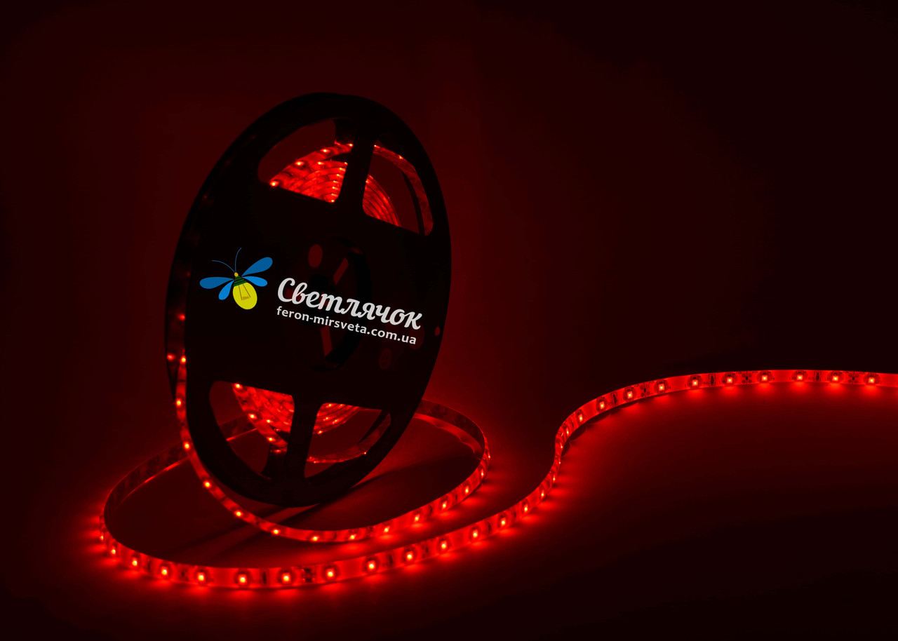 Светодиодная лента красная MTK smd 3528 4,8Вт/м. в силиконе (аналог LS604)