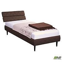 Кровать 1,6х2 Бизе, изголовье наклонное, ткань Фортуна 46, ножки буковые конус венге