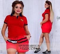 """Женская футболка """" Porshe """" красная БАТАЛ"""