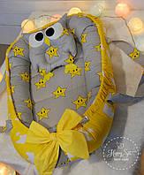 Кокон-позиціонер для новонароджених+ортопедична подушечка в сіро-жовтих тонах 1296