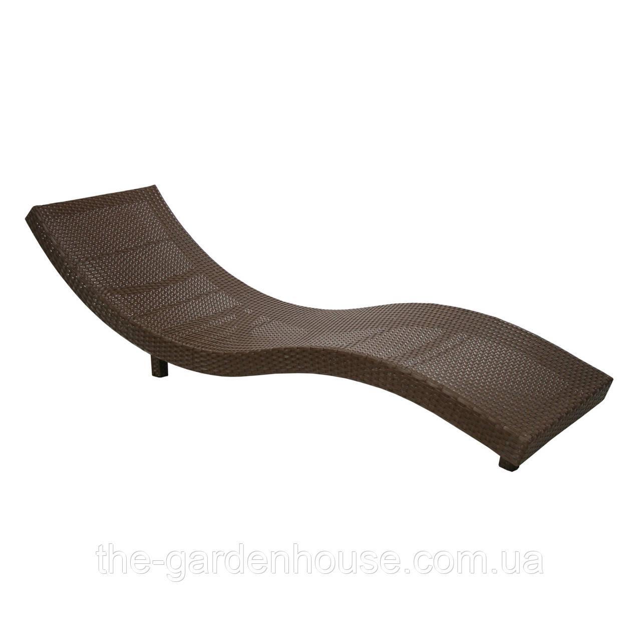 Лежак Wave из искусственного ротанга коричневый
