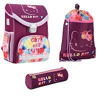 Набор первоклассника для девочки Ранец, сумка для обуви, пенал Kite Hello Kitty; рост 115-130 см