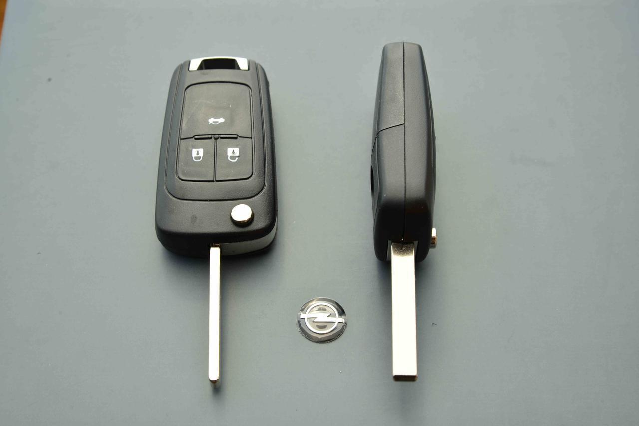 Корпус выкидного ключа для OPEL INSIGNIA (Опель Инсигния) 3 - кнопки, лезвие HU100