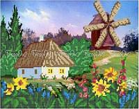 Схема для вышивки бисером Домик в селе (А4)