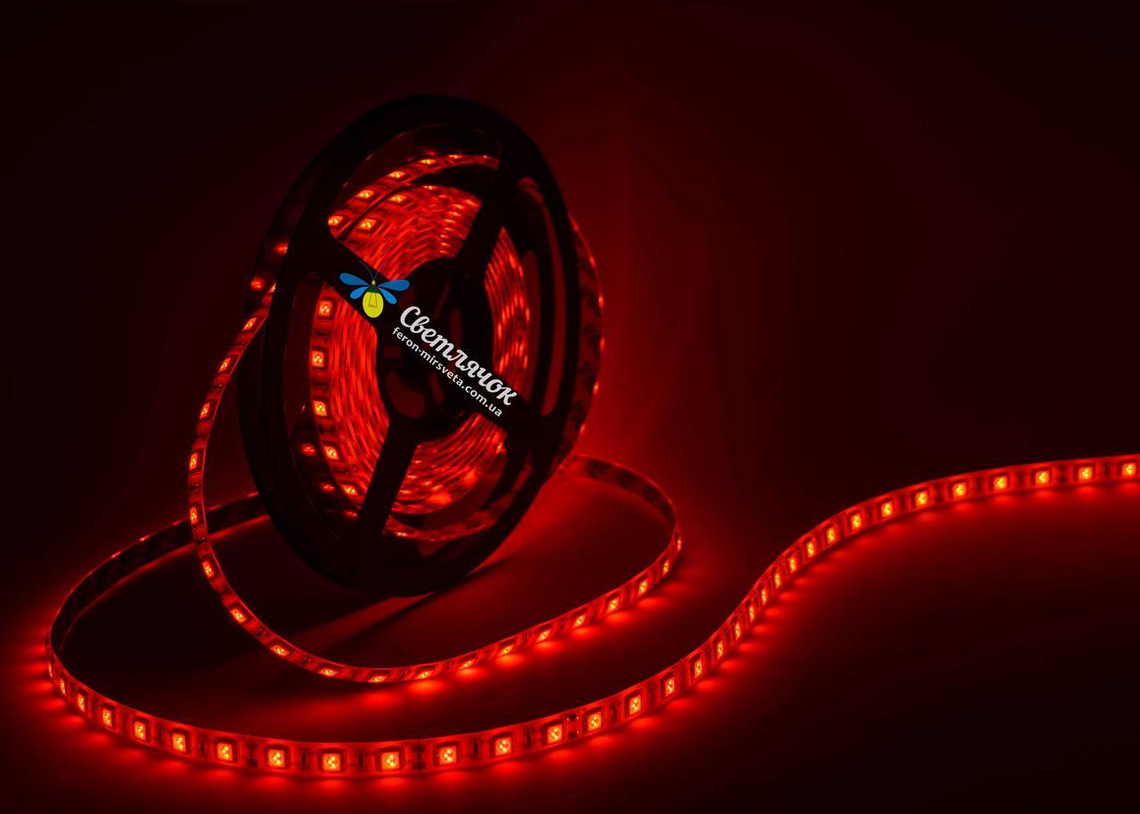 Светодиодная лента красная MTK 14,4Вт/м. smd 5050 в силиконе