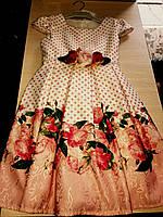 Шикарное детское платье на девочку в горошек с цветами