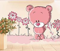 """Наклейка на стену, виниловые наклейки """"Влюбленный розовый мишка"""" (лист50*70см)"""