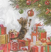 Салфетка для декупажа Котёнок под ёлкой 7071