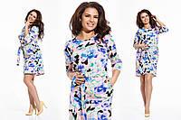 """Элегантное женское платье в больших размерах 1030 """"Коттон Цветы Кармашки"""" в расцветках"""