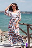 Женский комплект Платье 2 в 1 принты: бабочки/орхидея БАТАЛ