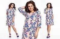 """Стильное женское платье в больших размерах 1029 """"Лён Цветы Кармашки"""" в расцветках"""