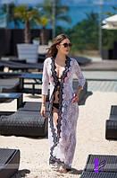 Женская пляжная туника гипюр с кружевной окантовкой НОРМА