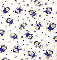 """Фланель """"Мишки в синих костюмчиках"""""""