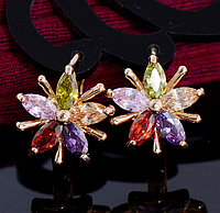Серьги с цветными кристаллами код 1200