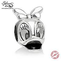"""Серебряная подвеска шарм Пандора (Pandora) """"Disney. Дейзи Дак"""" для браслета бусина"""