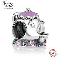 """Серебряная подвеска шарм Пандора (Pandora) """"Disney. Миссис Потс и Чип"""" для браслета бусина"""