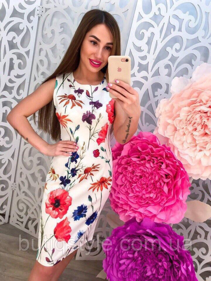 Стильное летнее белое платье принт тренд 2018