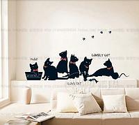 """Наклейка на стену, виниловые наклейки, украшения стены наклейки """"Играющие черные коты"""""""