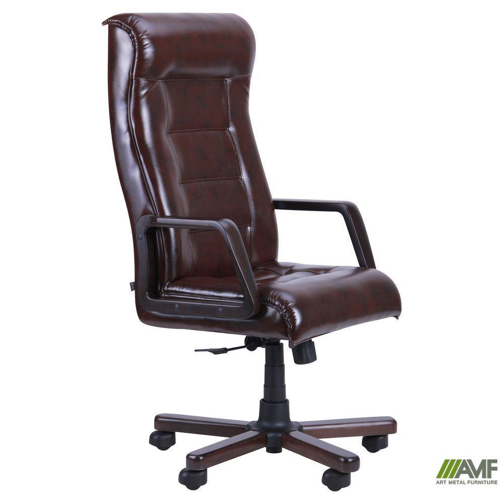 Кресло Роял Экстра Механизм ANYFIX белый Кожа Люкс комбинированная черная