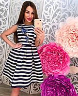 Летнее атласное платье в полоску с вышивкой