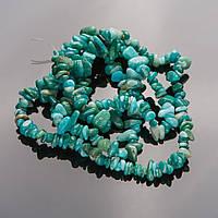 Бусы на леске нат. камень Амазонит  5-8мм крошка