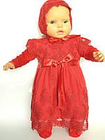 Крестильное платье, шапочка, пинетки рост 68 см. Украина.