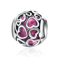 Серебряный шарм Пандора (Pandora) ажурные сердца
