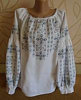 """Жіноча сорочка-вишивака з довгим рукавом """"Ніжність"""" на білому ручна робота розмір 50"""