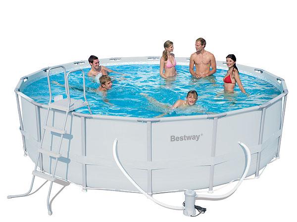 Каркасный круглый бассейн BestWay 56451 (488x122 см) с картриджным фильтром