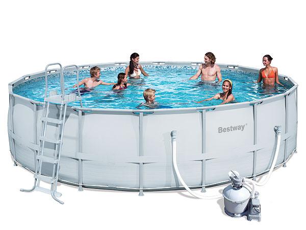 Каркасный круглый бассейн BestWay 56280 (549*132 см) с песочным фильтром