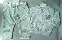 Детский трикотажный костюм с кружевами для девочек 6-18 мес оптом