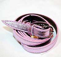 9115 Ремень женский кожаный узкий розовый перламутр