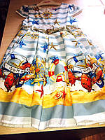 Роскошное детское платье на девочку с морским узором